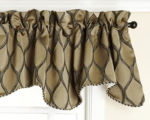 Style Master Renaissance Home Fashion Raven Embroidered Lined Scalloped Valance with Cording, Gold, 50 by 17-Inch