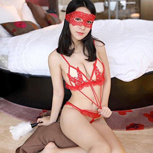 FNKDOR Mujeres Lingerie Encaje Babydoll G String Thong Ropa de noche Ropa interior Rojo