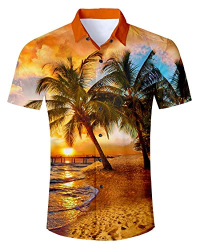 - UNIFACO Men Button Down Shirt Short Sleeve Palm Tree Sunset Yellow Summer Casual Hawaiian Beach Collared Shirts 2XL