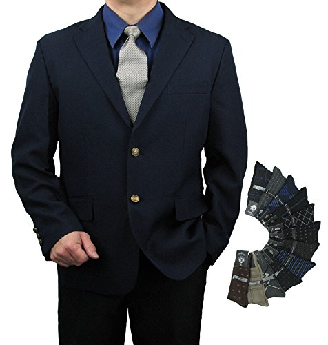 Single Breasted Side Vent (Triple Blessings Men's Classic Fit Single-Breasted 2-Button Blazer Jacket Sports Coat w/One Pair Of Dress Socks (Variety Of Colors) - Navy 62R)