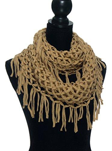 Crochet Fringe (Winter Scarfs for Women - Fashion Warm Infinity Scarves with Fringe, Tassel - Crochet Cable Knit Scarf - Camel)