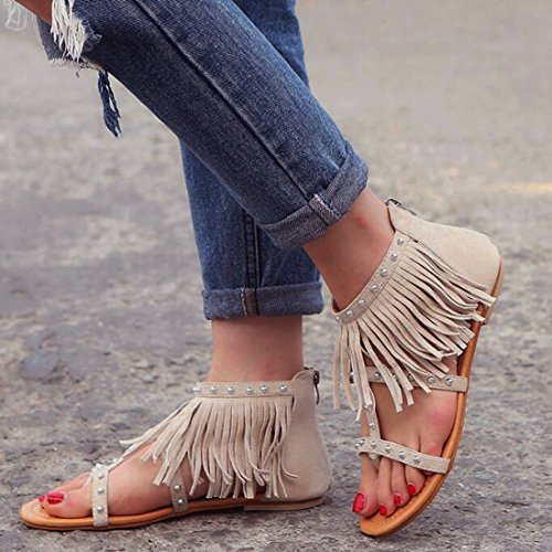 Flip Sandales Beige Z Gland Flop Daim Femmes Rivet Casual Chaussure Été Plates QIYUN TwF0Xw