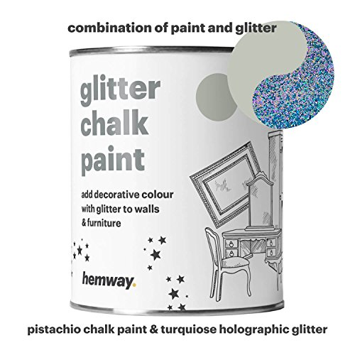 Hemway Pistachio Chalk Paint (with Turquoise Holographic Glitter) Sparkle Matt finish Wall and Furniture Paint 1L/35oz Shabby Chic Vintage Chalky Crystal (25 Glittery Colours (Pistachio Finish)