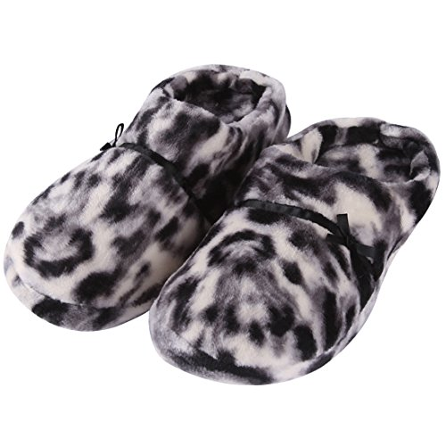 Forfoot Womens Soft Flannel Short Plush Lining Slip-On House Slippers Indoor/Outdoor Cat Texture T3kdX4G