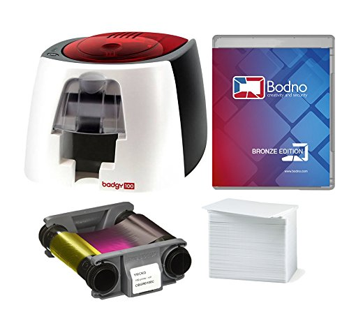 Badgy100 Color Plastic ID Card Printer with Complete Supplies Package with Bodno ID Software (Manual Zebra User Printer)