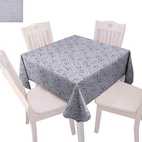 y Stain Resistant Wrinkle Tablecloth Cups and Pot of Grand English Tradition Sugar Cubes and Little Spoons Square Wrinkle Resistant Tablecloth 50