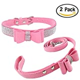 Newtensina Fashion Dog Collar and Lead with Bow Tie Bling Puppy Collar Leash with Bow for Dog - Pink - XXS