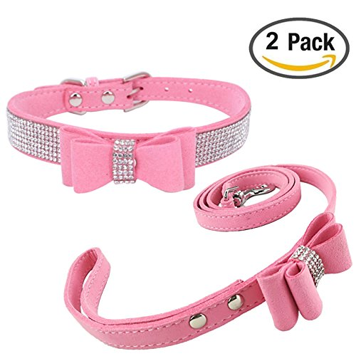 (Newtensina Fashion Dog Collar and Lead with Bow Tie Bling Puppy Collar Leash with Bow for Dog - Pink - M )