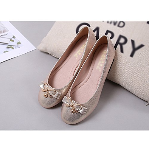 Shoes Toe Rhinestone Round T Flats On Casual Gold JULY Ballet Slip Women's Soft Comfort qZzwtY