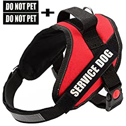 Faylife Servicce Dog Vest Harness - Adjustable Nylon with SERVICE DOG Do Not Pet Reflective Patches for Large Medium Small Dogs