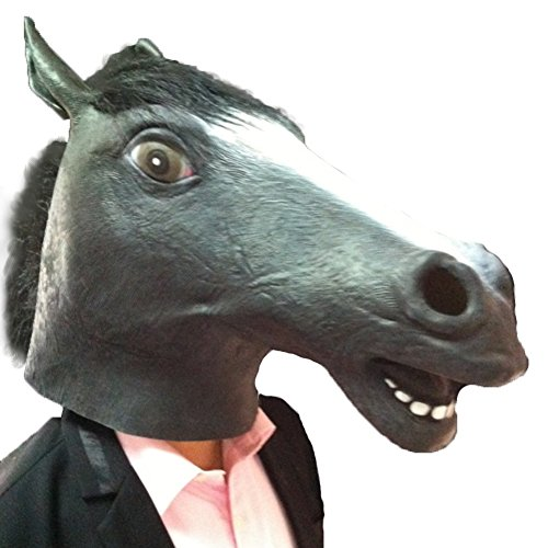 Funny Headgear (Halloween Party Latex Jaffaite Plastic Masquerade Masks Funny Scary Mardi Gras Masks Haunted House Face Mask Black Horse Head Mask Animal Headgear Dog Ma Jun Halloween Horse Mask Latex Mask Wholesale)