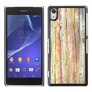 YiPhone /// Prima de resorte delgada de la cubierta del caso de Shell Armor - Watercolor Pastel Lines Tone Vertical - Sony Xperia Z2 D6502 D6503 D6543 L50t L50u