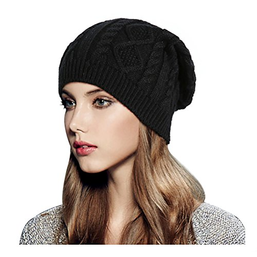 Black Winter Ski - Glamorstar Women Cable Knit Beanie Winter Warm Crochet Hats Chunky Stretch Ski Cap Black