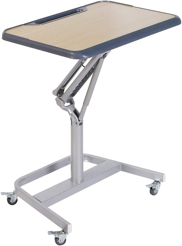 """NEWPUTE Pneumatic Height Adjustable Sit-Stand Mobile Laptop Computer Desk Cart, Rolling Standing Work Station with Caters, 27.5""""W with Gas Spring Lift Mechanism"""