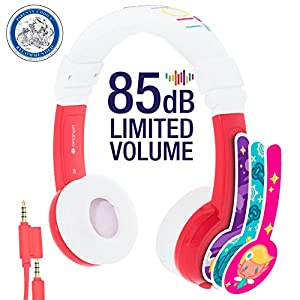 Explore Foldable Volume Limiting Kids Headphones - Durable, Comfortable & Customizable - Built in Headphone Splitter and In Line Mic - For iPad, Kindle, Computers and Tablets - Red