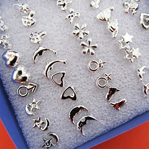Price comparison product image UNKE 24Pairs / 18Pairs Bulk Chic Tiny Mixed Style Earrings Stud Earrings Pierced , 24Pairs