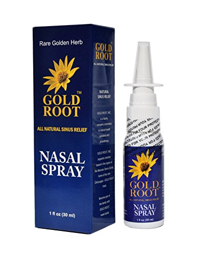GOLD ROOT Saline Nasal Spray All-Natural Sinus Care with Herbal Extract - Immediate and Drug Free Relief From Congestion, Allergies, and Blocked Sinuses