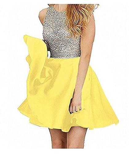 TANGFUTI Beading Short Prom Dresses Open Back Satin Homecoming Dresses 107YL-US2 (Sequin Satin Dress)