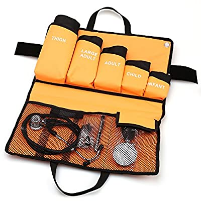 5-in-1 Palm Aneroid Sphygmomanometer and Stethoscope Kit by LotFancy, Adult/ Large Adult/ Child/ Infant/ Thigh Cuffs, Penlight and Portable Carrying Case Included