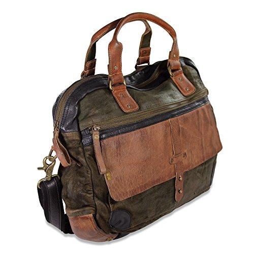 DESIDERIUS Sanju DAMINI Herren Leder Business Tasche Umhängetasche olive black , 42x32x10 cm (B x H x T)