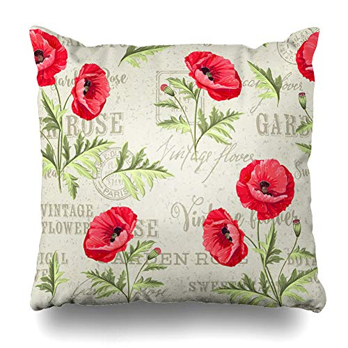 DIYCow Throw Pillow Covers Romance Red Leaf Pattern Poppy Flowers On Garden White Aged Blossom Drawing Endless Design Love Home Decor Pillowcase Square Size 16 x 16 Inches Zippered Cushion Case