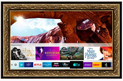 Framed Mirror TV with Samsung 55 inch 4K Ultra HD HDR Smart LED TV TVPlus. Gold Ornate Frame