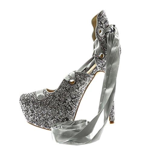 Angkorly Damen Schuhe Pumpe Sandalen - Stiletto - Dekollete - Disco - Schnürsenkel Aus Satin - Glitzer Stiletto High Heel 14.5 cm Silber