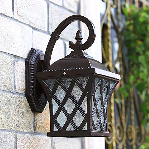 Wylolik External Light Wall Mount Wall Lamp Frosted Glass Shade Black Finish Industrial Wall Sconce with E27 Base 14