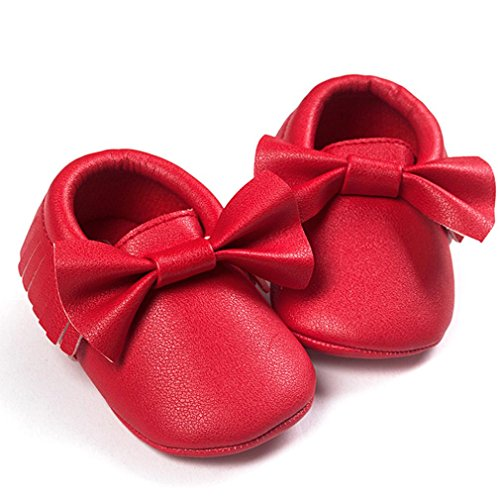 Ouneed® Krabbelschuhe , Weihnachten Baby Crib Tassels Bowknot Shoes Toddler Sneakers Casual Non slip Shoes Rot