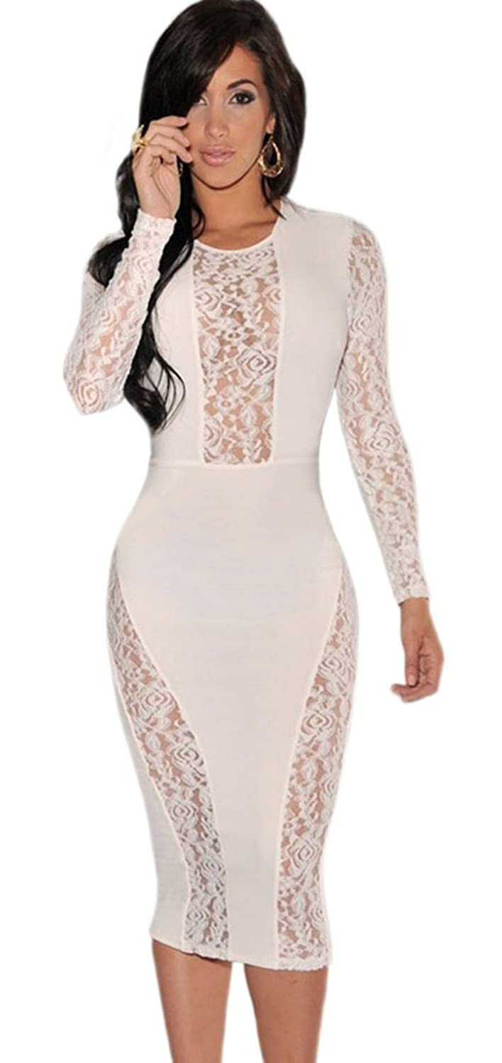 Womens Elegant Floral Lace Splice Long Sleeve Bodycon Cocktail Party Midi Dress