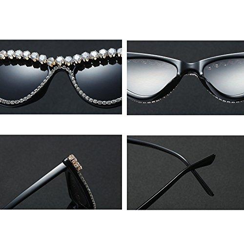 de Ojo Gafas Lujo UV400 Parte Gafas Negro la Gato TL Sunglasses de de Pequeñas de Mujer de Verano de Mujer Sol de Sol qag5n5Xw