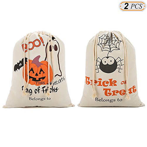 (Hisight Halloween Candy Bags, Natural Cotton Material Fastened Thread Bear 44 Ibs with Drawstring Pattern Trick or Treat Candy Bags Drawstring Sacks Pumpkin Bags for Kids Presents Pattern Pack of 2)