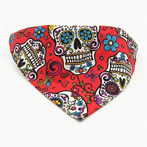 Benala Halloween Cat Bow Tie,Skull Print Dog Bow Tie Collar, Puppy Bow Tie, Cat Costume Collar Bandanna,L]()