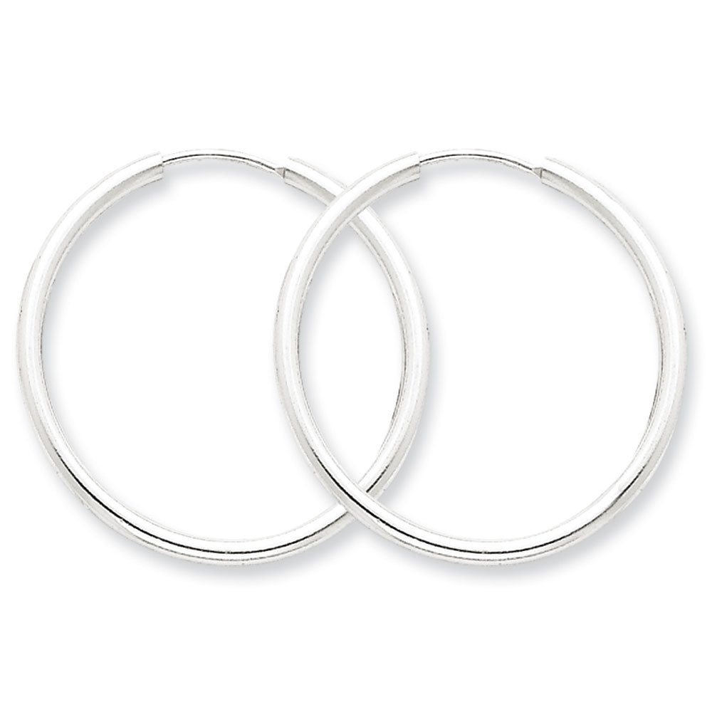 Designs by Nathan, Endless 925 Sterling Silver Seamless Tube Hoop Earrings, 15 Styles and Sizes (Regular 2mm x 28mm)
