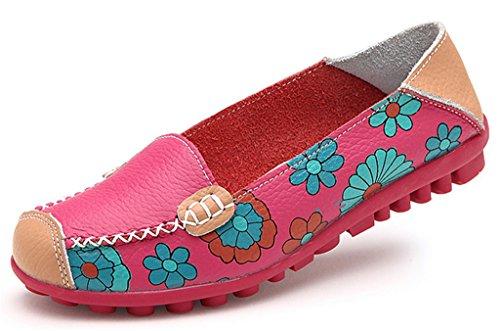NEWZCERS Casual soft anti deslizamiento único estampado de flores en el piso de paseo mocasines conducir zapatos planos para las mujeres Rosa roja