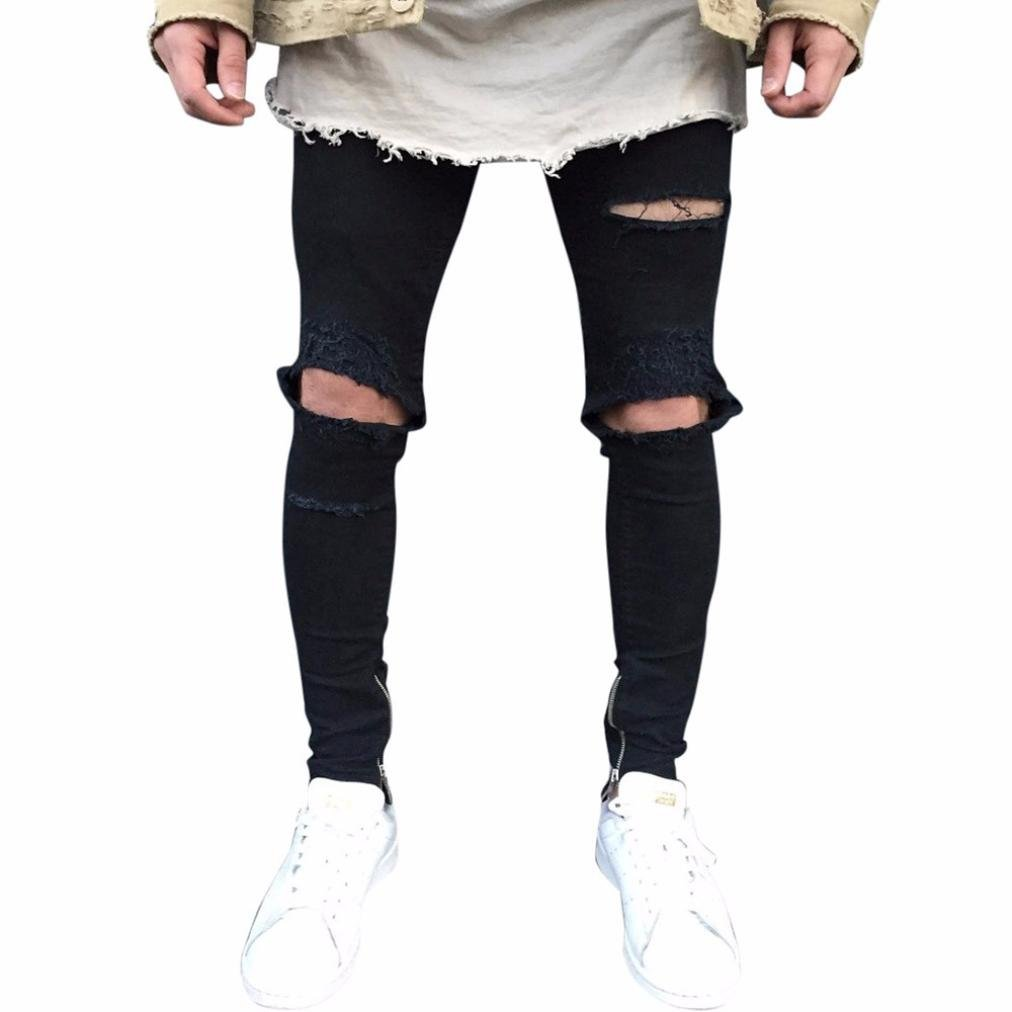 8f40538b ... iMakcc Men Stretchy Ripped Skinny Feet Biker Jeans Destroyed Zipper  Taped Slim Fit Denim Pant. Wholesale Price:23.99. We are Asian size,runs  small than ...
