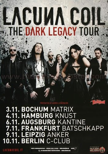 Lacuna Coil - Dark Legacy 2012 - Concert Poster