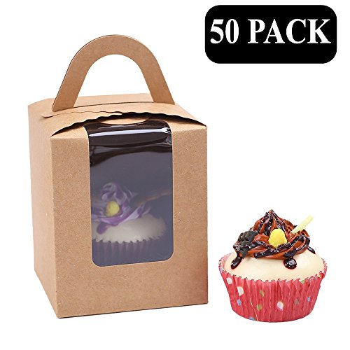 Clear Bakery Pastry Brown Kraft Paper Single Cupcake Boxes With Window And Handle Wholesale(50PCS) (Christmas Wholesale Boxes Gift)