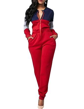 122957799af Amazon.com  Angsuttc Women Color Block Jumpsuit Zipper Long Sleeve Loose  Pants Casual Romper  Clothing