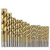 HOEN 99Pcs High Speed Steel Twist Mini Drill Bit Set Precision 1.5mm - 10mm Titanium Coated Split Point Boring Bit Tools for Wood Plastic Aluminum Copper Steel