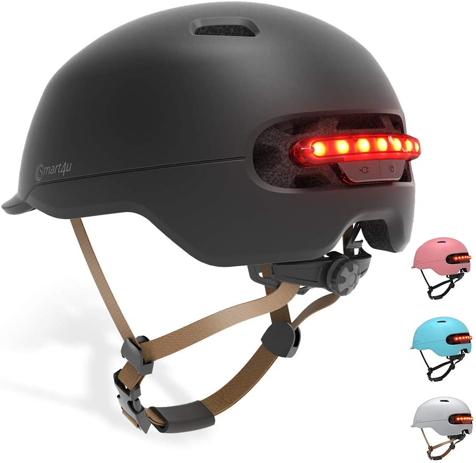 Smart4u Smart Bike Casco con 3 Tipos de Luces de Alerta, Smart Safe Bling Casco, cómodo, Ligero, Transpirable, Impermeable, Casco de Ciclismo
