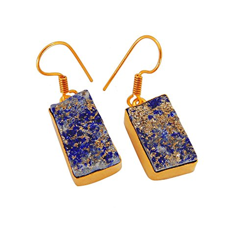 18k Yellow Gold Vermeil Rough Lapis Lazuli Gemstone Drop Dangle Earrings