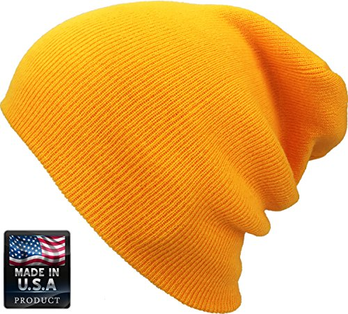 SKIHAT-LONG YEL Thick Beanie Skully Slouchy & Cuff Winter Hat Made in USA (Dwarf Hats)