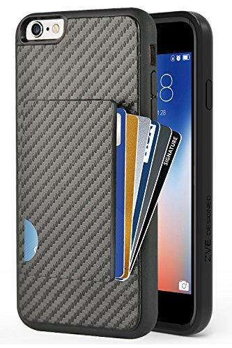 (iPhone 6 Plus Wallet Case, iPhone 6S Plus Card Holder Case, ZVEdeng Credit Card Case Grip Cover with Carbon Fiber Design Slim Wallet Protective Case for Apple iPhone 6 Plus / 6S Plus 5.5'' Black)