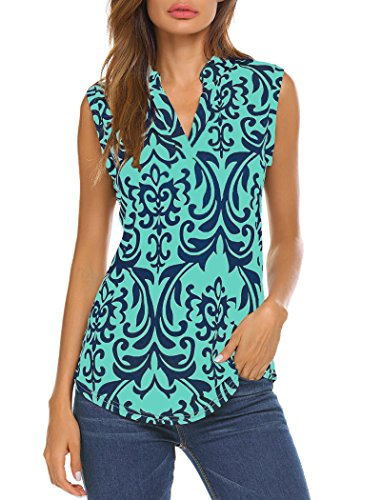 - Halife Womens Sleeveless Floral Printed Pleated V Neck Tunic Tanks Tops Green1 L