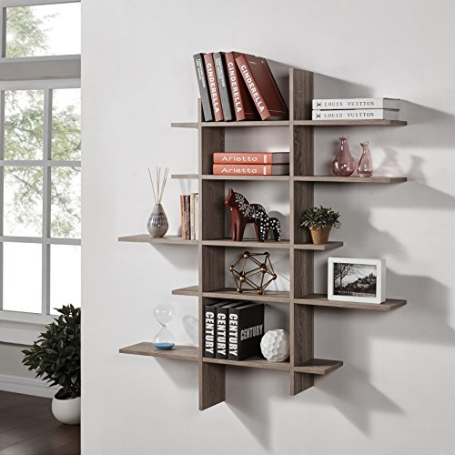 Danya B. Five Level Asymmetric Shelf - Weathered Oak
