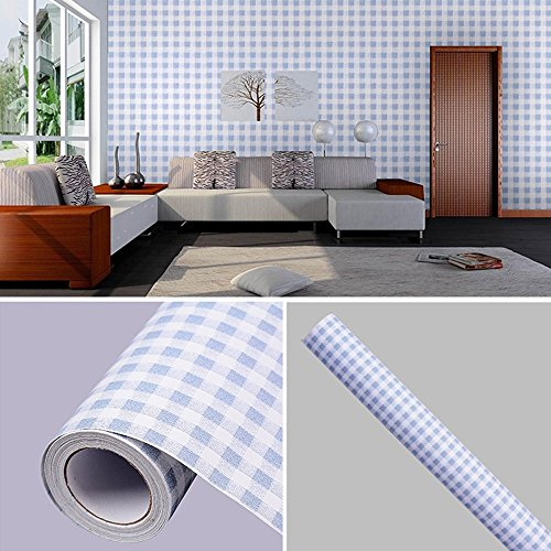 Review SimpleLife4U Mediterranean Style Contact Paper Blue-White Gingham Countertop Door Sticker By SimpleLife4U by SimpleLife4U