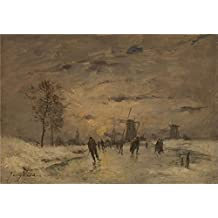 The Perfect effect canvas of oil painting 'Imitator of Johan Barthold Jongkind Skating in Holland ' ,size: 18 x 26 inch / 46 x 66 cm ,this Beautiful Art Decorative Canvas Prints is fit for Foyer decor and Home decor and Gifts