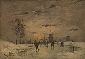 'Imitator of Johan Barthold Jongkind Skating in Holland ' oil painting, 8 x 12 inch / 20 x 29 cm ,printed on high quality polyster Canvas ,this Amazing Art Decorative Prints on Canvas is perfectly suitalbe for Powder Room decoration and Home decor and Gifts