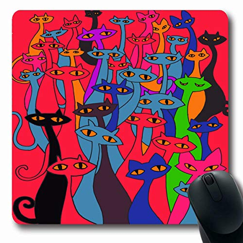 Ahawoso Mousepad Oblong 7.9x9.8 Inches Ugly Orange Celebration Hand Drawing Doodle Cats Evil Group Flat Bizarre Red Cool Design Holiday Office Computer Laptop Notebook Mouse Pad,Non-Slip Rubber